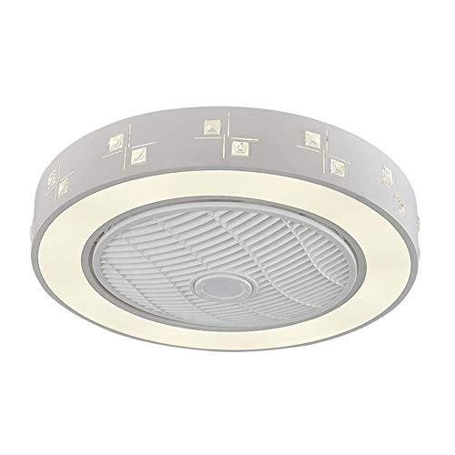 Ventilador Interior Ventilador de Techo Led con Luz,Lámparas de Techo Redondas Modernas de Montaje Empotrado de 21,6 Pulgadas con Control Remoto,Lámparas de Abs de Luz Regulable de Tres Colores Para