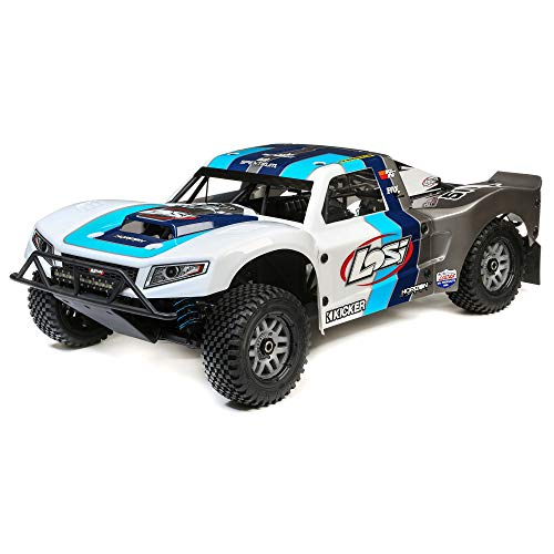 Losi 5Ive-T 2.0 1/5 Scale 4WD RC Short Course Truck Gas Powered BND with 6-CH Dsmr Telemetry Rx (Transmitter, Rx Battery, Charger, & Fuel Not Included), LOS05014T1 (Grey/Blue/White)