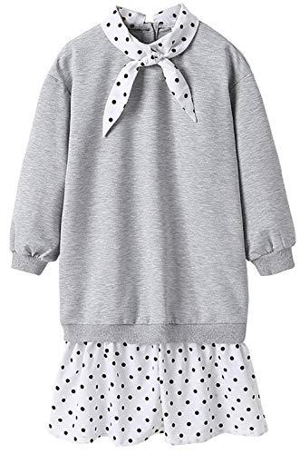 Vestido de Manga Larga para niñas Vestido de Primavera, niña Estilo de Primavera Costura Falso Vestido de Dos Piezas (Gris) grey-110cm