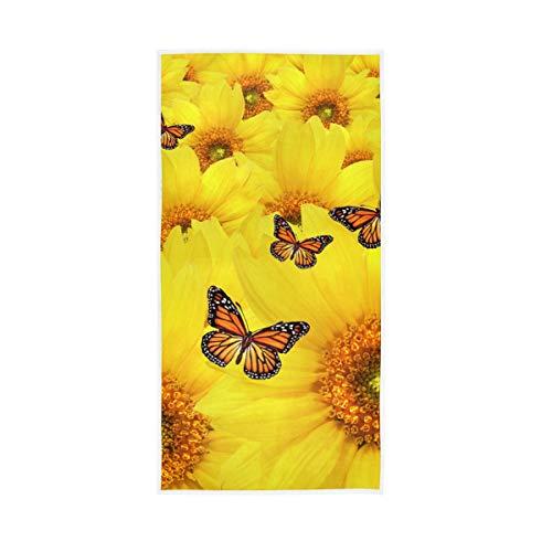 Sehr saugfähig für Badezimmer Home Hotel Fitnessraum Whirlpool Handtücher Hand Blume Feld Schmetterling Chrysantheme Sonnenblume Weiche Große Bulldogge Gast Mehrzweck 30x15 zoll Dekorativ