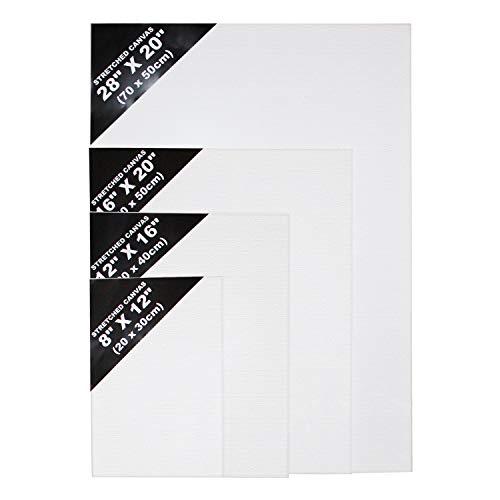 Leinwand Set - (70 x 50cm, 40 x 50cm, 30 x 40cm, 20 x 30cm) 4 Pcs Weiße Künstler Leinwände - Leinwand Tafeln in Verschiedenen Größen für Malerei, Acrylgießen, Ölfarben & Nasse Kunstmedien