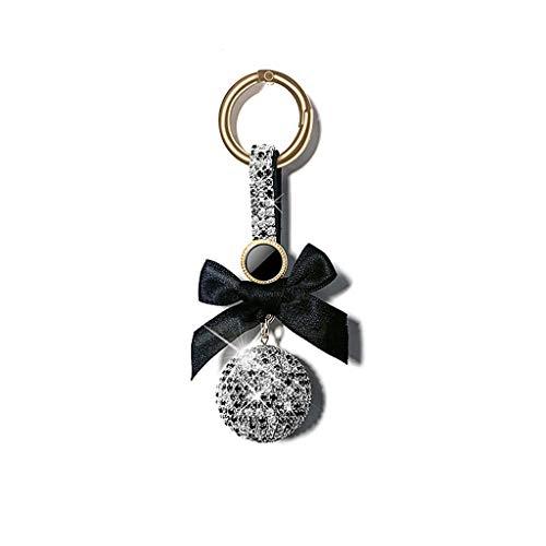Metalen Split Sleutelhanger Ringen Fortune Bal Crystal Strass Sleutelhanger Sleutelhanger Sparkling Sleutelhanger Charm Handtas Tas Decoratie Vakantie Cadeau (Zwart) Tas Bedel