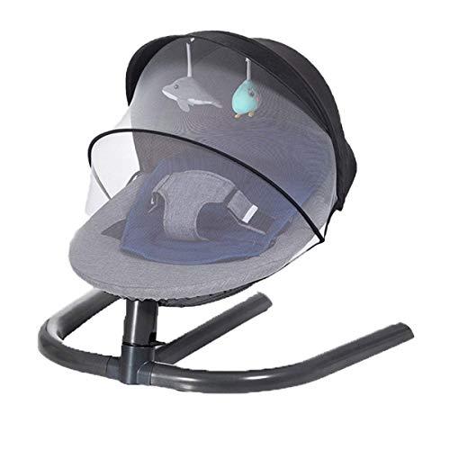 El favorito del bebé, una buena opción para que la Silla de mecedora de bebé inteligente, coctelera con almohadas y mosquiteras transpirables y muñecas, swing de cinco velocidades de silencio, silla d
