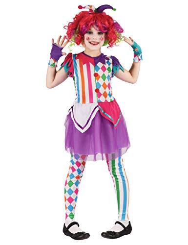 Generique - Disfraz de Payaso arlequín niña - S 4-6 años (110-120 cm)