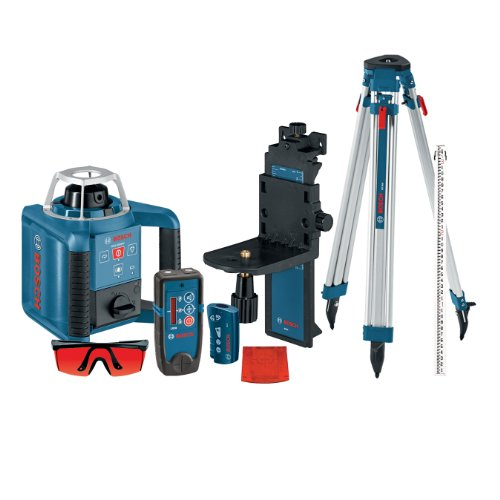 Bosch Self-Leveling Rotary Laser with Layout Beam Kit with Receiver, Remote, Tri-pod and Wall Mount GRL300HVCK, Blue