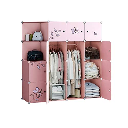 wardrobe Canvas Hanging Rail Simple And Modern Economical Fabric Assembly Plastic Adult Storage Cabinet(Pink) FANJIANI (Size : 147x47x147cm)