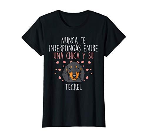 Amor Entre Chica Y Teckel Perro Lindo Dachshund Mujer Regalo Camiseta