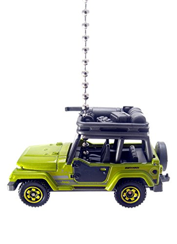Jeep Compatible Diecast Ceiling Fan Light Pull Ornaments 1/64 Scale (1998 Jeep Wrangler Metallic Green)