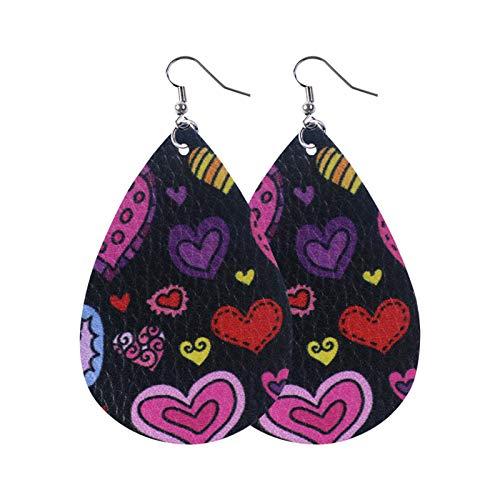 Women Girls Party Faux Leather Drop Dangle Earrings Accessory,Drop Shape Double Sided Heart Printing Hanging Earrings for Women Dangle,Fashion
