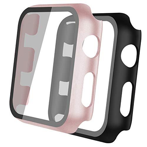 Th-some 2 pcs Transparente Funda Apple Watch Serie 3/2/1 Case for 42mm con Protector de Pantalla Cristal Templado HD Protección Completo Compatible con iWatch Carcasa, Negro y Rosa Oro