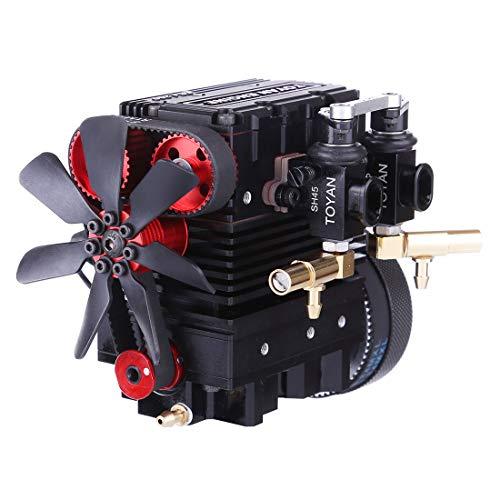 ColiCor Kit de motor Stirling, TOYAN FS-L200 2 cilindros de 4 tiempos Nitro modelo de motor para 1: 10 1:12 1:14 RC coche barco modelo