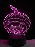 HOHHJFGG ハロウィーンパンプキン3DスライドショーマルチカラーLEDテーブルナイトライトUSBタッチバーパーティーデコレーション