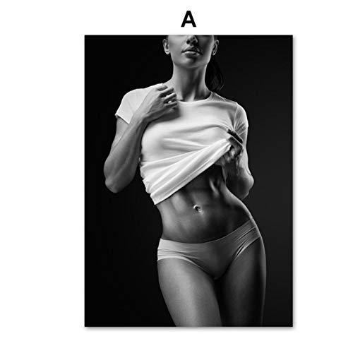 Sexy Woman Gym Fitness Arte de la pared Pintura en lienzo Carteles nórdicos e impresiones Imágenes de pared para la sala de estar Decoración del hogar -60x80cmx1pcs- Sin marco