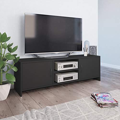 vidaXL TV Schrank mit 2 Regalen 2 Türen Fernsehtisch Lowboard Fernsehschrank HiFi-Schrank TV Möbel Tisch Grau 120x30x37,5cm Spanplatte