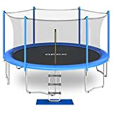 ORCC 2021 Upgrade Trampoline Max Weight Capacity 450LBS, 15 14 12 10 FT Kids Trampoline with Safety Enclosure Net Wind Stakes Rain Cover Ladder, Outdoor Trampoline for Kids Adults, Backyard Trampoline