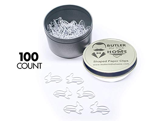 Butler in the Home Bunny Rabbit Shaped Paper Clips Great for Paper Clip Collectors or Office Gift - Comes in Round Tin with Lid and Gift Box (White 100 Count)