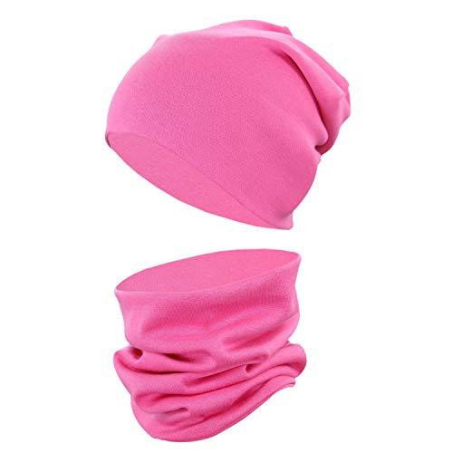 TupTam Unisex Kinder Beanie Mütze Schlauchschal Set Uni, Farbe: Pink, Größe: 56-62