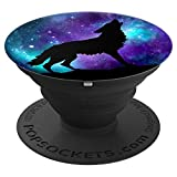 Galaxy Star Wolf Surreal Wild Lone Wolves Double-Exposure PopSockets Grip and Stand for Phones and Tablets