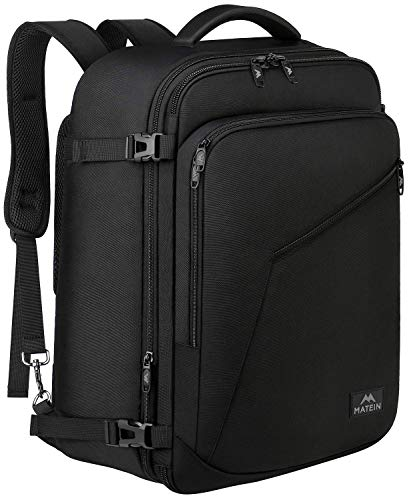 MATEIN Carry On Backpack, Flight Approved Rucksack bag, 40 Litre Extra Large Travel Backpack, Convertible Hand Luggage Cabin Bag with Expandable Compartment, Adjustable Business Laptop Backpack, Black