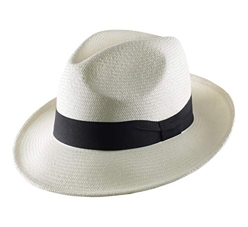 Classic Italy Authentique Chapeau Panama, tressage Traditionnel en Équateur Large Bord - 5 Coloris - Homme ou Femme Havana Fedora - Taille 55 cm - Bla