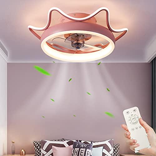Lámpara de Ventilador con Control Remoto 80W Regulable Lámpara de Techo, Ultra Silencioso Ventilador de Techo 3 Temperaturas de Color & 4 Velocidades Luz de Techo para Dormitorio Restaurante Ø55cm