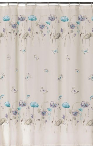 White shower curtain with blue flowers