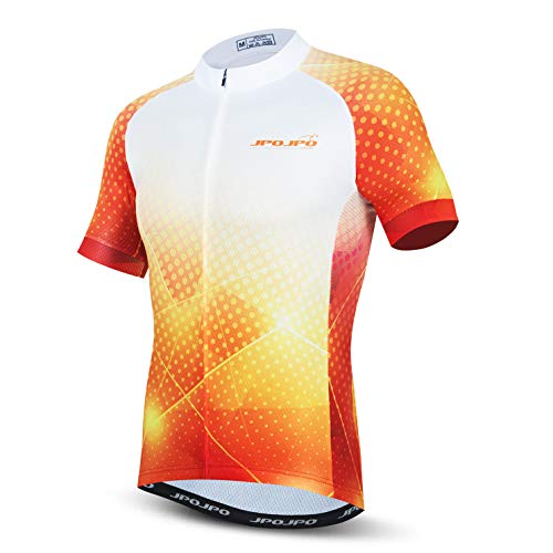 weimostar Cycling jersey Mens Bike full zip Tops Shirts Breathable Quick Dry Golden Yellow Size L