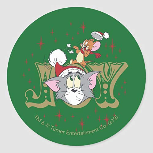 Round Label Stickers, Set of 50, Tom and Jerry Holiday Joy Classic Round Sticker, Envelope Seals Circle Stickers for Christmas Cards Gift Envelopes Boxes Party Favors, 2 Inch