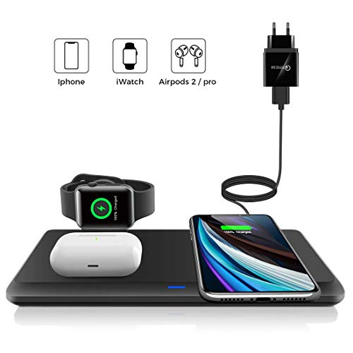 LECHLY Kabelloses Ladegerät, Qi-Zertifiziert, Wireless Charger 3 in 1 für Apple Watch, AirPods Pro ladestation, 7.5W für iPhone 11/11pro/Se/XS/XR/Xs Max/8, Samsung Galaxy S20/S10 (Mit QC 3.0 Adapter)