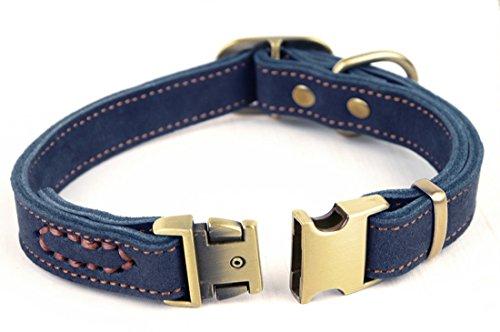 """Rantow handgemachte justierbare Haustier-Hundehalsband 11.9""""bis 16,5"""" und 0,78""""Wide, echtes Leder-Hundetrainings -Kragen für kleine/mittlere Hunde (Blau)"""
