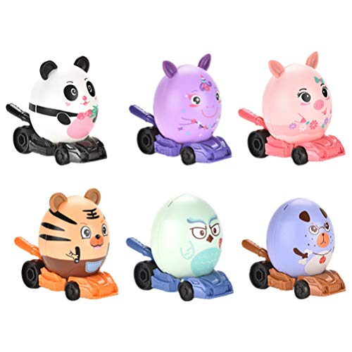 NUOBESTY 6pcs Animals Friction Push and Go Toy Cars Panda Pig Tiger Construction Vehicles Toy Playset for Toddlers Kids Christmas Holiday Party Favor(Random Style)