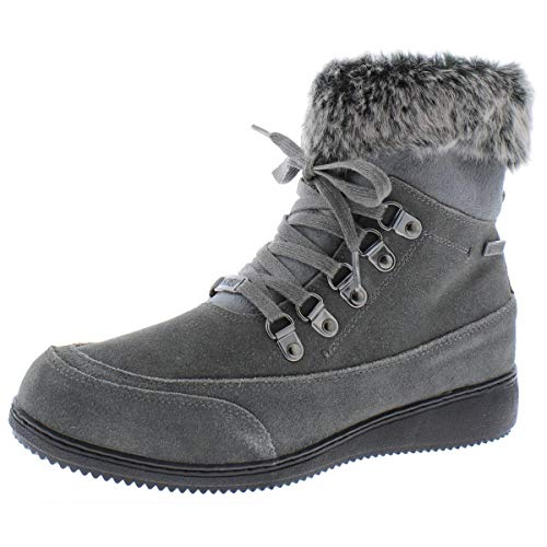 Khombu Womens Francie Leather Closed Toe Ankle Cold Weather Grey