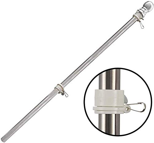 MIYA Flag Pole Without Bracket- 6 FT Flagpole Kit for American Flag - Stainless Steel Professional Flag Pole for House Garden Yard - Residential or Commercial Flag Pole(Flag Pole only)
