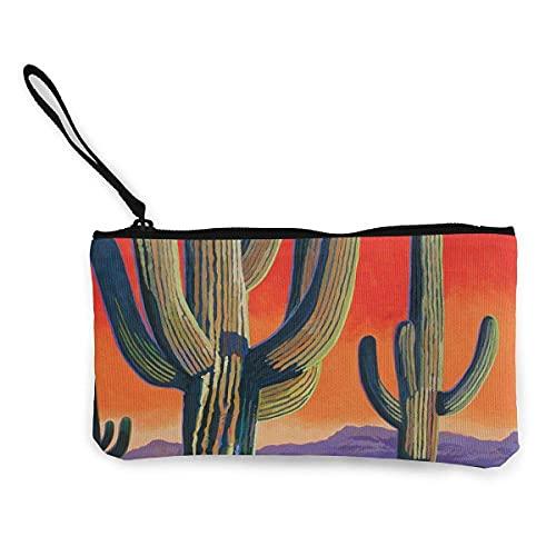 Cactus Sunset - Monedero de lona para viaje, maquillaje, lápiz con mango, bolsa de lona con cremallera, bolsa de aseo portátil