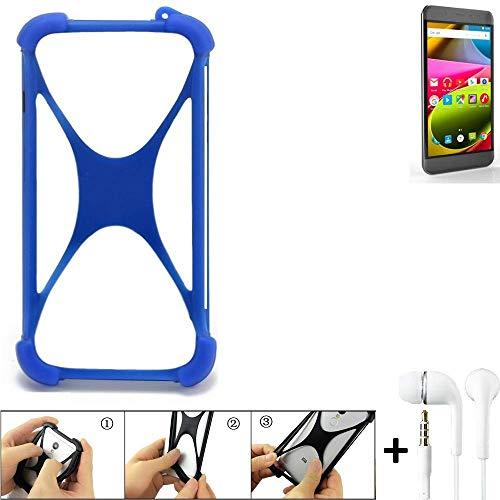 K-S-Trade® Handyhülle Für Archos 50 Cobalt Bumper Schutzhülle Silikon Schutz Hülle Cover Case Silikoncase Silikonbumper TPU Softcase Smartphone, Blau (1x), Headphones