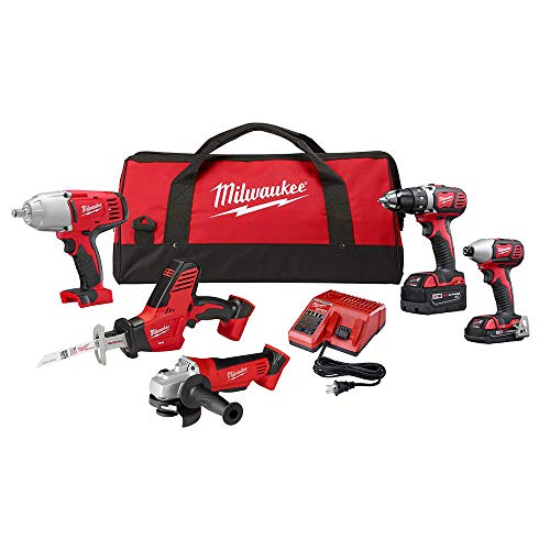 Milwaukee M18 18-Volt Lithium-Ion Cordless Combo Tool Kit (5-Tool) with Two Batteries, Charger, Tool Bag