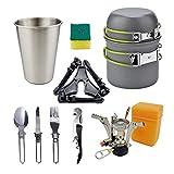 Utensilios de cocina de camping al aire libre Juego de utensilios de 1-2 personas conjunto de la pista estufa portátil for acampar al aire libre combinación olla de vajilla el Campamento Itinerante de