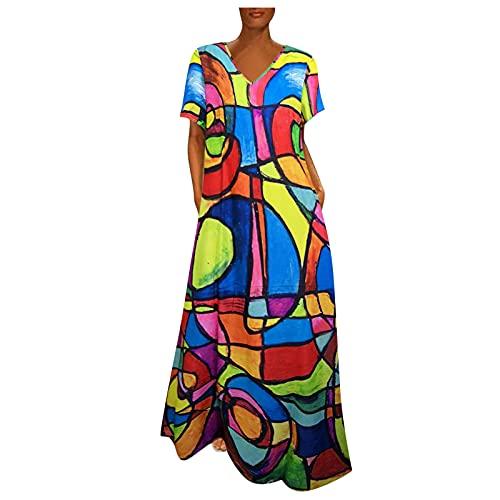 URIBAKY - Vestido de manga corta para mujer con cuello redondo y cuello redondo, vestido largo con cuello en V, vestido de camisa de verano con bolsillos multicolor M