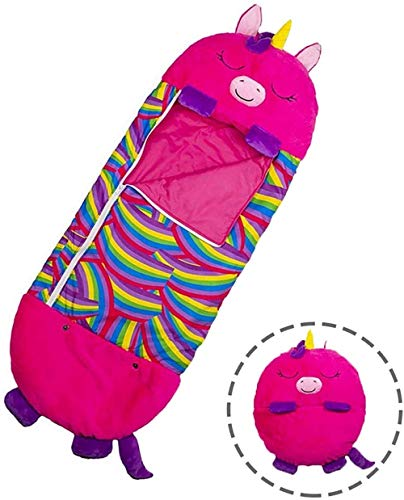 plhzh Massager Large Play Pillow & Sleeping Bag, Super Soft & Warm All Season Comfortable Kids Sleeping Bags, 2 in 1 Nap Pillow & Kids Sleeping Bag-Unicorn Red Pink