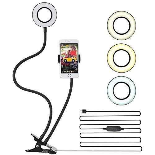 CCFCF Selfie-ringlicht met houder voor mobiele telefoon, staand, 10 lichtmodi, ringlamp, dimbaar led-ringlicht, telefoonhouder en spiegel voor streaming, make-up en selfie-fotografie