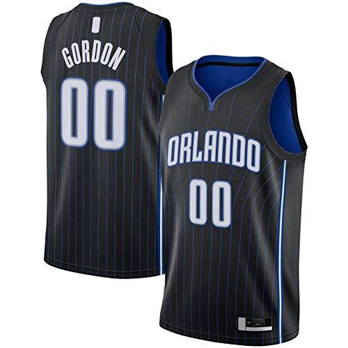XIANER Aaron Custom Gordon Top Sin Mangas Orlando Hombres Magic Basketball Jersey #00 2019/2020 Swingman Jersey Negro - Icono Edition-M