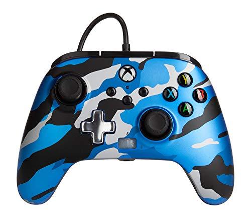 Mando con Cable Mejorado Powera Para Xbox. En Metallic Camo Azul, Mando, Mando Para Videojuegos con Cable, Mando de Juego, Xbox Series X|S