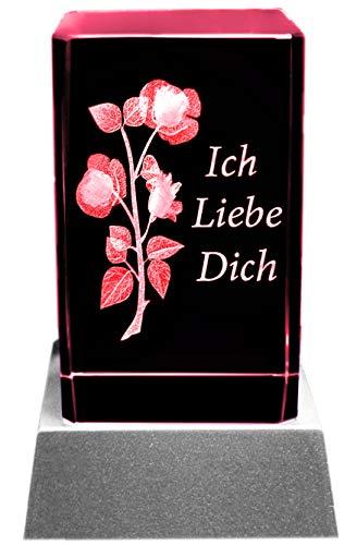 Kaltner Präsente Stimmungslicht - Ein ganz besonderes Geschenk: LED Kerze / Kristall Glasblock / 3D-Laser-Gravur Motiv Romantik Rose Ich liebe Dich
