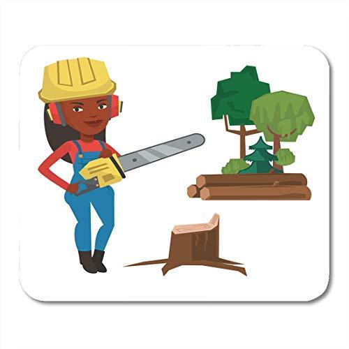 Mauspads Afroamerikaner Holzfäller mit Kettensäge Lächeln in Arbeitskleidung Schutzhelm und Kopfhörer Jung mit flachem Mauspad für Notebooks, Desktop-Computer Büromaterial