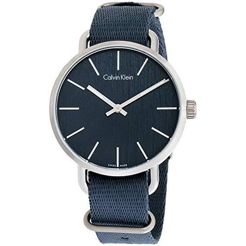 Calvin Klein K7B211WL - Reloj de pulsera para mujer, correa de nailon, esfera azul uniforme