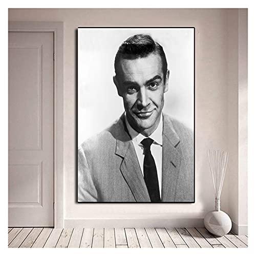 CBYLDDD Sean Connery Poster,James Bond 007 Black &Bianco Stampa di Alta qualità,Immagine d'Arte d'Epoca Immagine,Arredamento da Parete Art 20x28 Senza Cornice
