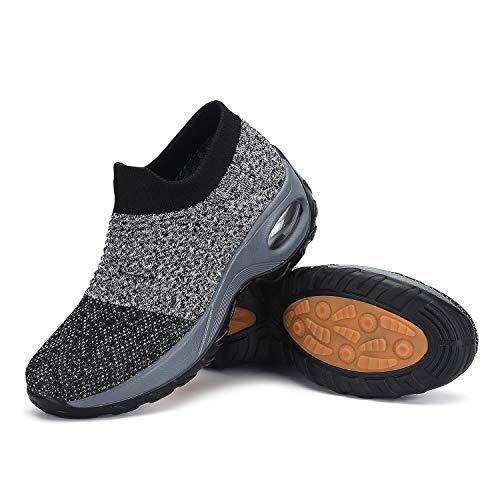 Mishansha Damen Slip on Freizeitschuhe Air Walkingschuhe Bequeme Atmungsaktive Sportschuhe Frauen rutschfest Straßenlaufschuhe Sneakers Grau Schwarz, Gr.39 EU