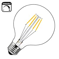 [Dimmerabile Vintage Bulbs] - Schema dimmerazione super stabile, nessun sfarfallio, nessun ronzio o ronzio. [Risparmio energetico] - Questa lampadina a LED a filamento da 4W può sostituire la lampadina alogena o a incandescenza vintage 40W, riducendo...