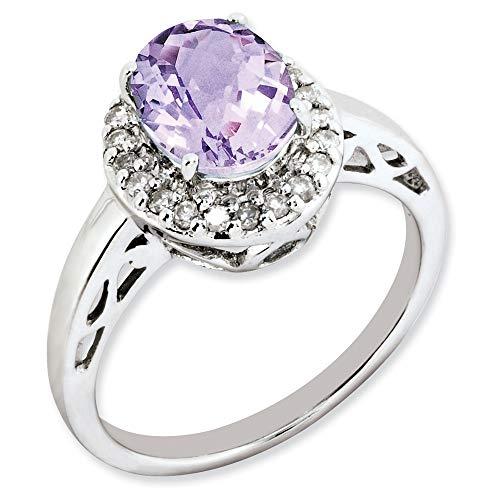 Plata de ley Oval rosa cuarzo y anillo de diamantes en bruto - tamaño N 1/2 - JewelryWeb