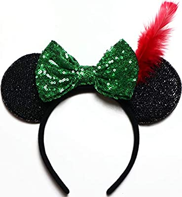 CLGIFT Peter Pan Ears, Neverland Mickey Ears, green blue minnie ears, Rainbow Sparkle Mouse Ears,Classic Red Sequin Minnie Ears (Peter Pan)